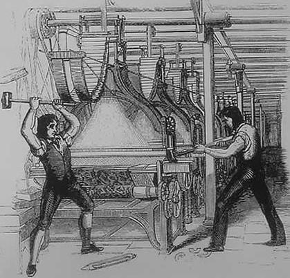 Desenho de dois ludistas destruindo uma máquina de tear em 1812| Wikicommons