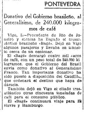 """Em 1939, o jornal La Vanguardia Española noticiava uma doação de café realizada pelo Brasil. Doação é destinada pessoalmente ao """"Generalíssimo"""", que """"ordenará o destino que se haja que dar"""" (Imagem: Hemeroteca La Vanguardia)"""