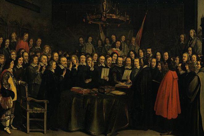 Em 24 de outubro de 1648 são assinados dois importantes acordos internacionais que, juntos, selam a Paz de Vestfália, colocando fim à Guerra dos Trinta Anos, que devastou a Alemanha. Além de alterarem o mapa e a balança de poder no continente, eles também serviram de base para os modelos modernos de Estado-nação e soberania estatal.