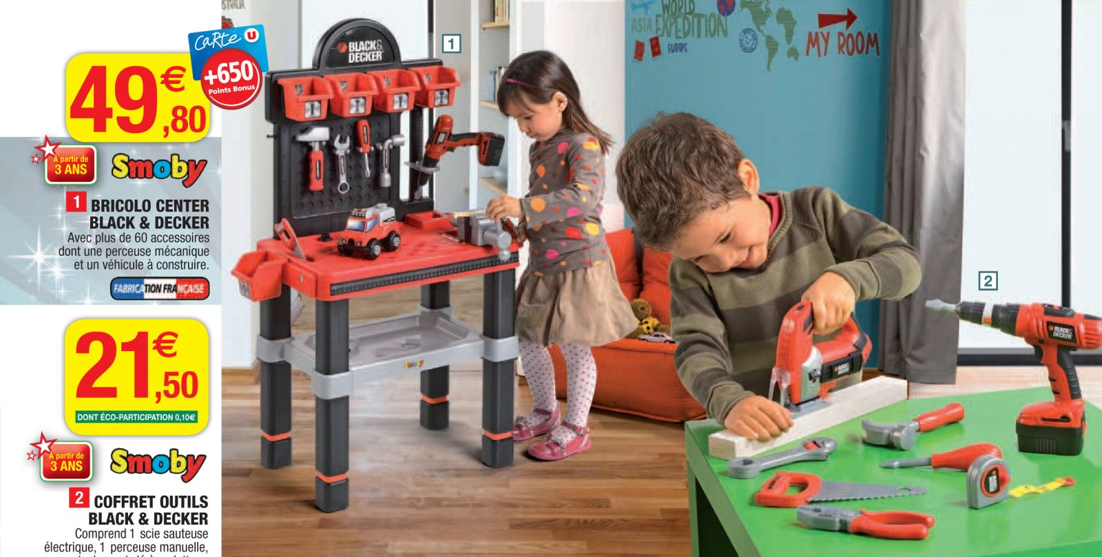 No catálogo, meninos e meninas aparecem usando ferramentas de brinquedo