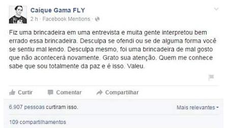 O integrante Caique Gama se pronunciou sobre o assunto em sua conta do Facebook (Reprodução/ Facebook Caique Gama Fly BR)