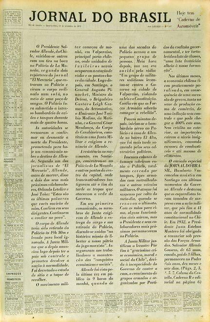 Capa do Jornal do Brasil de 12 de setembro de 1973, um dia após o golpe no Chile
