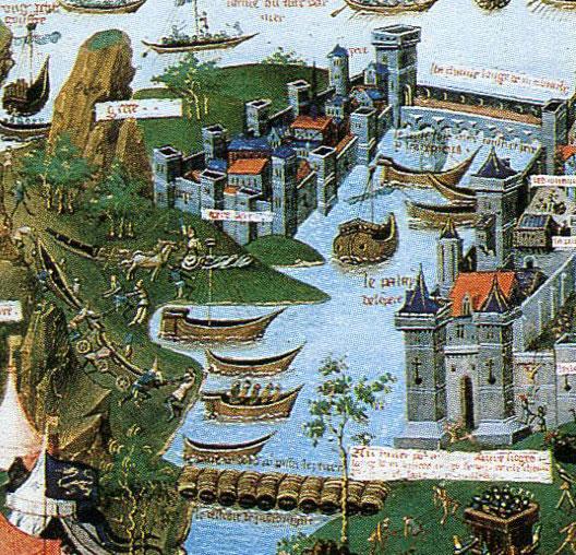 Soldados otomanos transportam a frota sobre a Colina de Gálata, diante de Constantinopla