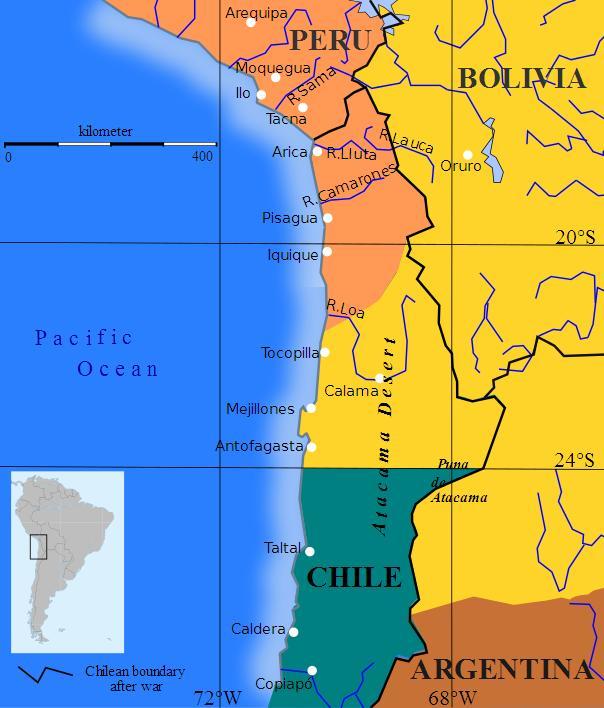 Mapa mostra territórios pré-guerra (em cores) e pós-guerra (linhas em preto) na Guerra do Pacífico em 1879