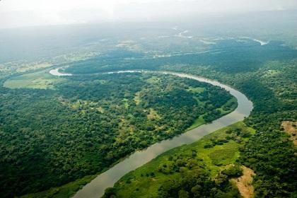 Rio Semliki em vista aérea parcial do parque / Foto: Facebook Virunga National Park