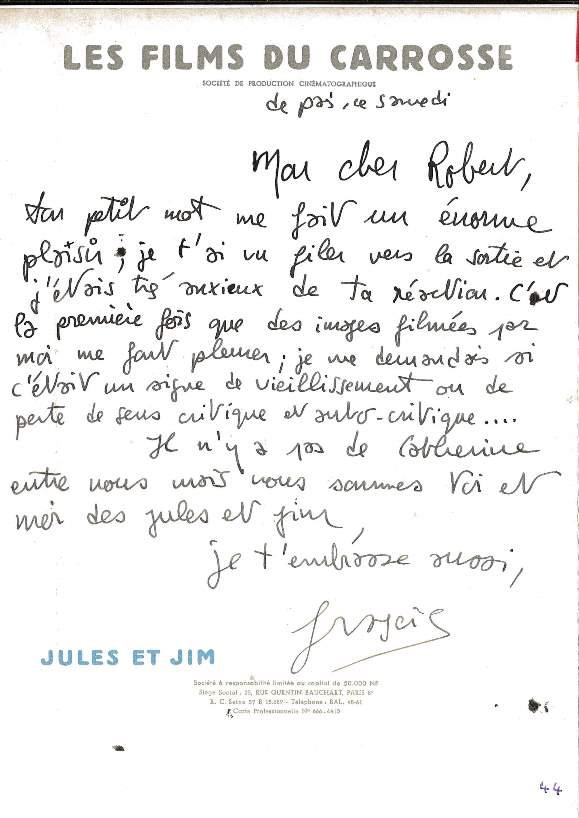 Carta de Truffaut a Robert Lachenay, parte da exposição no MIS