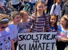 Greta lidera protesto em Roma contra mudanças climáticas