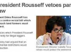 Jornais internacionais destacam veto de Dilma a artigos do Código Florestal