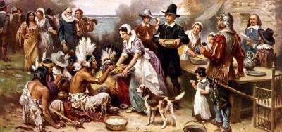 Pintura da primeira celebração de Ação de Graças. The First Thanksgiving. Autor: Jean Louis Gerome Ferris.